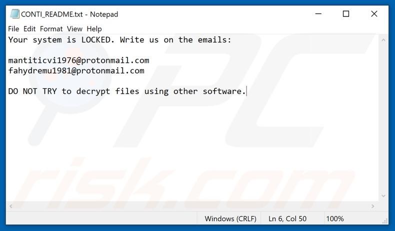 Conti Ransomware Ransom Note